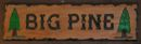 Carved Big Pine cabin sign