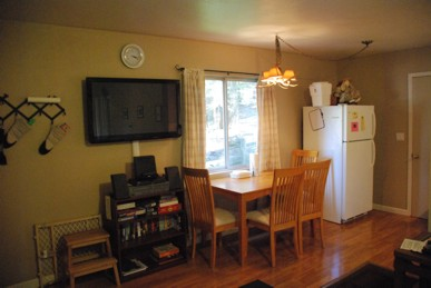 The dining area is perfect for a couple or small family
